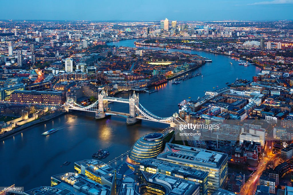 Aerial view of city, London, England, UK : Stock Photo