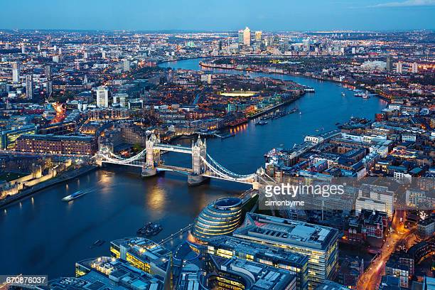 aerial view of city, london, england, uk - river thames stock pictures, royalty-free photos & images