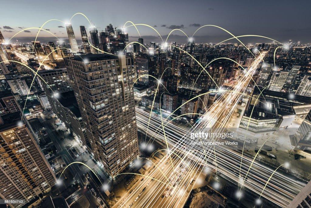 Luftaufnahme der Stadt Netzwerk, Peking, China : Stock-Foto