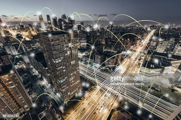 aerial view of city network, beijing, china - wireless technology stock pictures, royalty-free photos & images