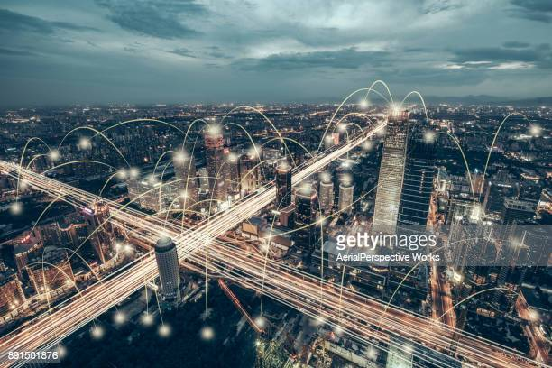 aerial view of city network of beijing skyline - wireless technology foto e immagini stock