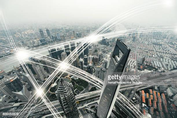 Aerial View of City Network of Shanghai Skyline