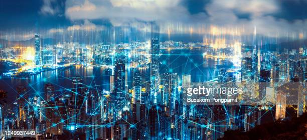 aerial view of city network. technology smart city with network communication internet of thing. - hong kong stock pictures, royalty-free photos & images