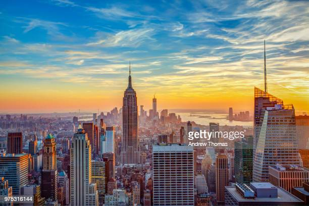 aerial view of city, new york, new york state, usa - new york city stock-fotos und bilder