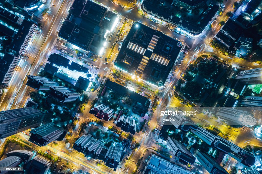 Aerial view of city night : Stock Photo