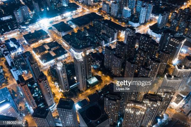 aerial view of city night - liyao xie bildbanksfoton och bilder