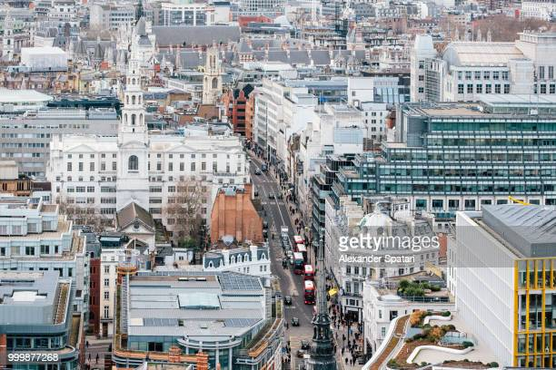 Aerial view of City of London and Fleet Street, England, UK