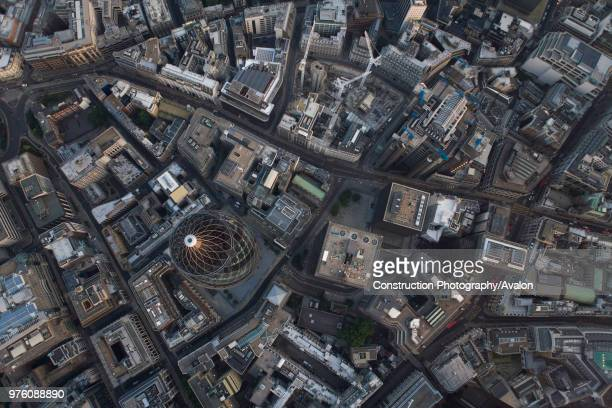 Aerial view of City of London at dusk 30 St Mary Axe Lloyd's Building Leadenhall Street