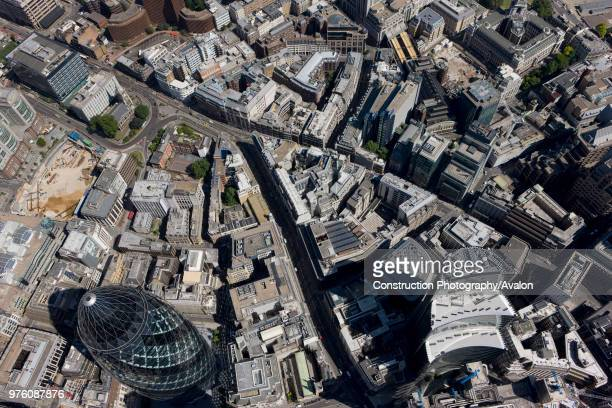 Aerial view of City of London Leadenhall Street and Fenchurch Street towards Aldgate