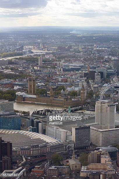 aerial view of city of london with palace of westminster and london eye - mattscutt stock pictures, royalty-free photos & images