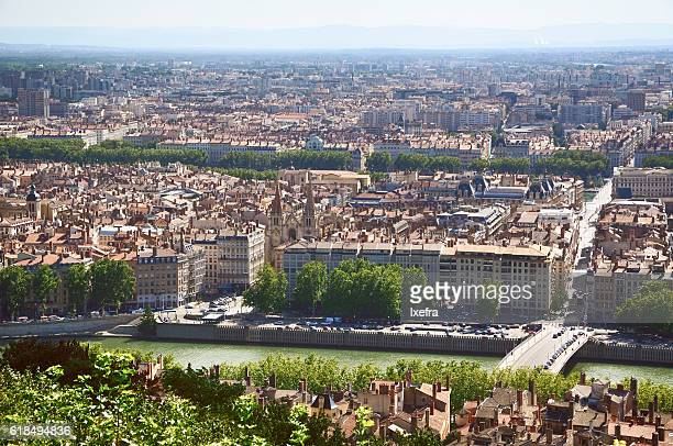 Aerial view of city of Lyon.