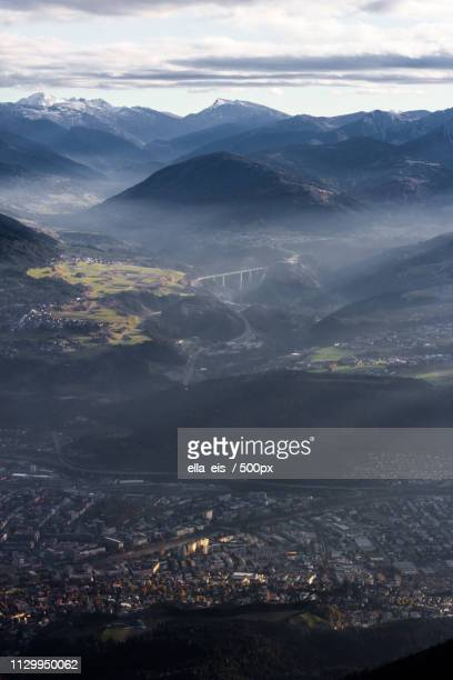 Aerial view of city on valley