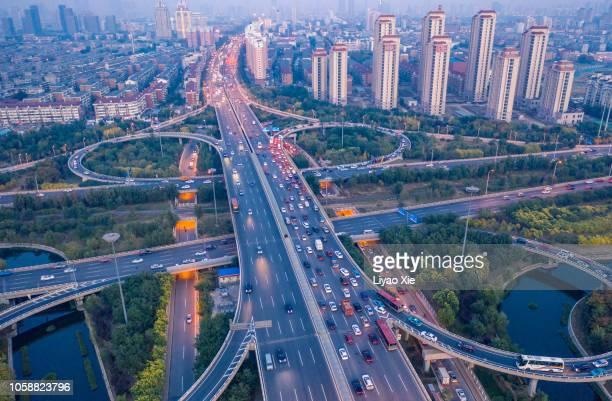 aerial view of city overpass - liyao xie fotografías e imágenes de stock