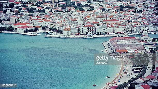 Aerial view of city, Pag, Zadar, Croatia