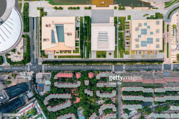 aerial view of city - high up stock pictures, royalty-free photos & images