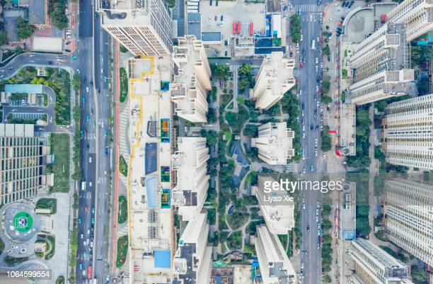 aerial view of city - liyao xie ストックフォトと画像