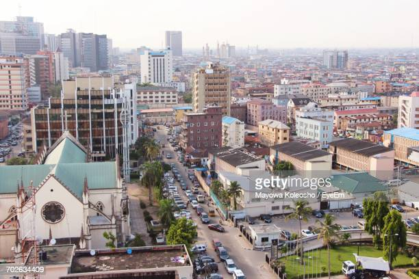 aerial view of city - nigeria stock pictures, royalty-free photos & images