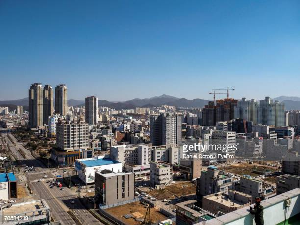aerial view of city - jeonju stock pictures, royalty-free photos & images