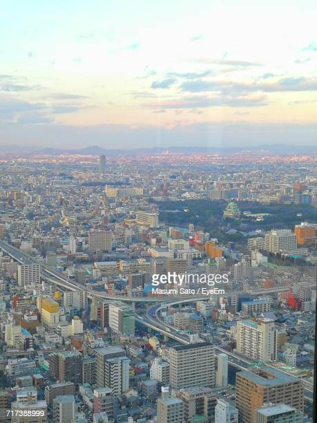 aerial view of city - nagoya stock pictures, royalty-free photos & images