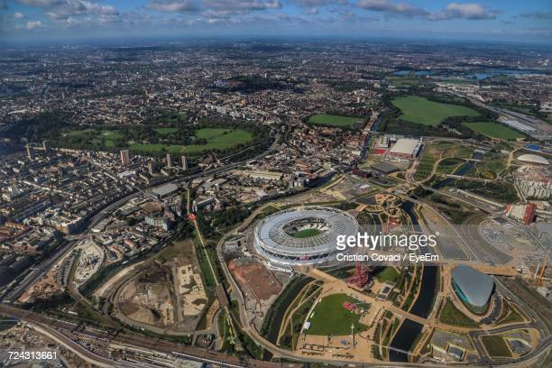 aerial view of city - stratford london stock pictures, royalty-free photos & images