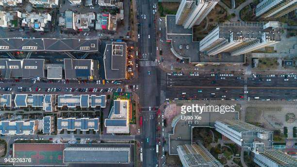 aerial view of city - town stock pictures, royalty-free photos & images