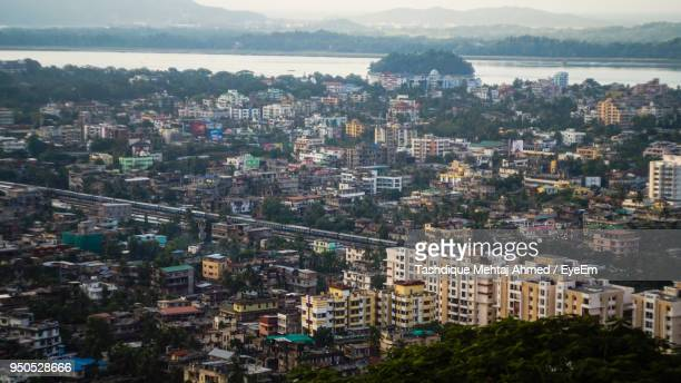 aerial view of city - guwahati stock photos and pictures