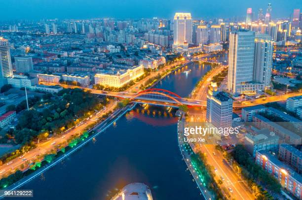 aerial view of city - tianjin stock pictures, royalty-free photos & images
