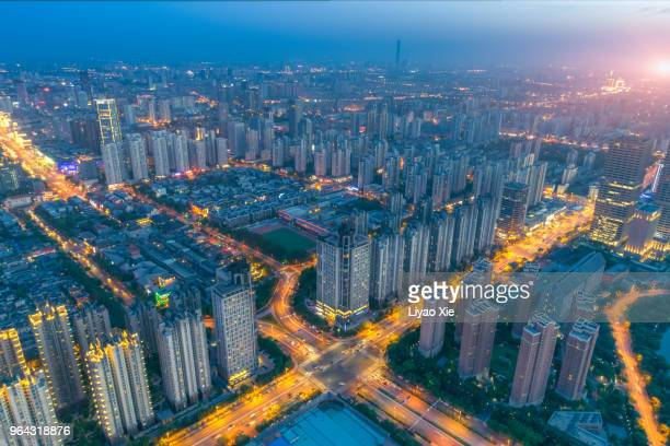 aerial view of city - liyao xie foto e immagini stock