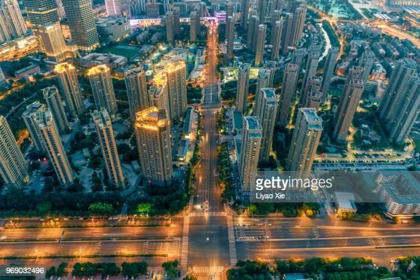 aerial view of city - liyao xie stock-fotos und bilder