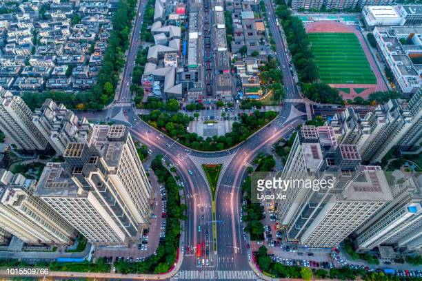 aerial view of city road - liyao xie stock pictures, royalty-free photos & images