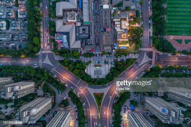 Aerial view of city road