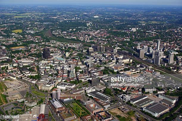 aerial view of city, ruhr district. - エッセン ストックフォトと画像