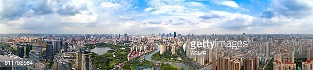 Aerial View Of City Skyline