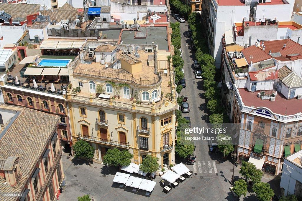 Aerial View Of City Street : Foto stock