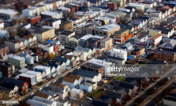 aerial view of city streets and houses apartment buildings - newark new jersey stock pictures, royalty-free photos & images