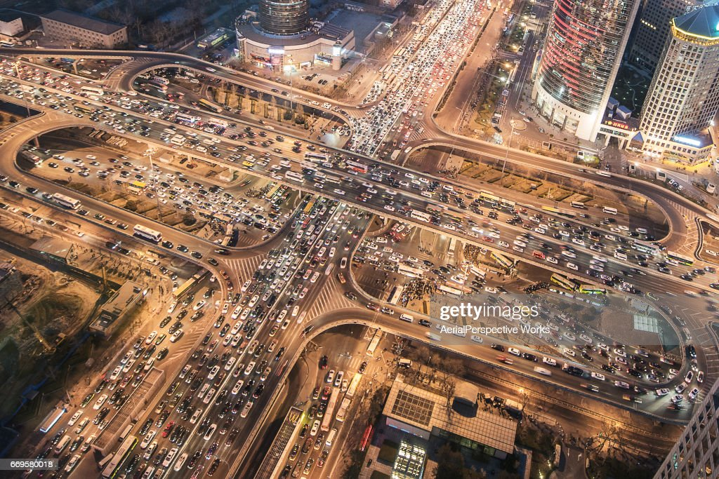 Aerial View of City Traffic Jam : Stock Photo