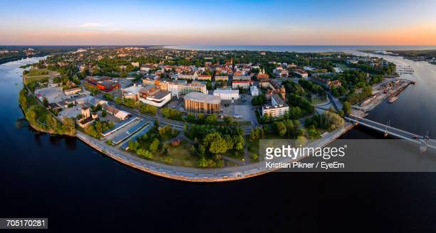 Aerial View Of City Waterfront