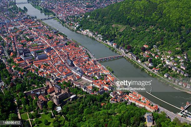 aerial view of city with neckar river and castle. - heidelberg germany stock pictures, royalty-free photos & images