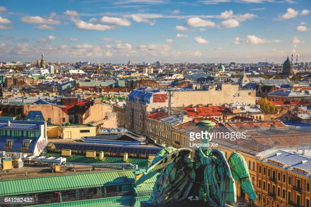 aerial view of citysacpe over downtown st. petersburg, russia - サンクトペテルブルク ストックフォトと画像