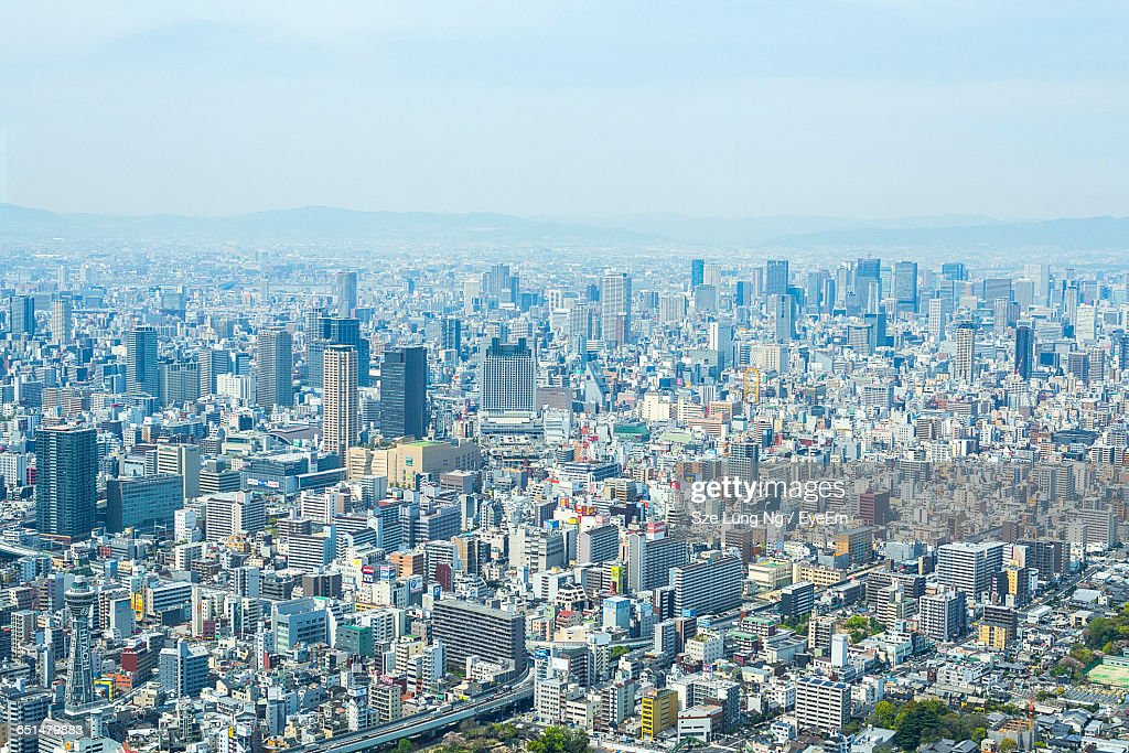 Aerial View Of Cityscape Against Clear Sky : Stock Photo
