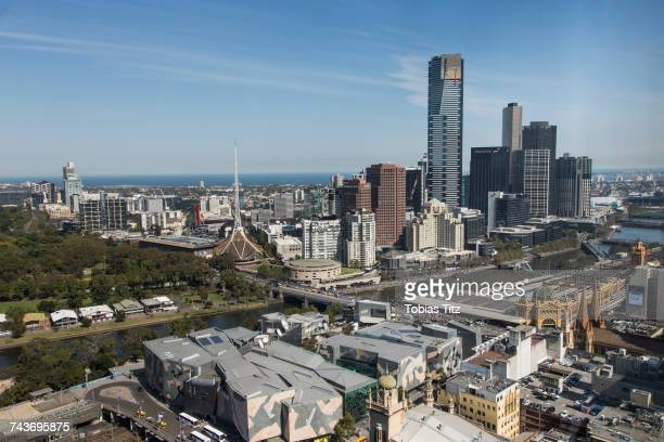 Aerial view of cityscape against sky and sea, Melbourne, Victoria, Australia