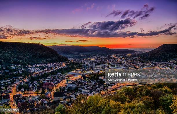 aerial view of cityscape against sky at sunset - baden württemberg stock photos and pictures