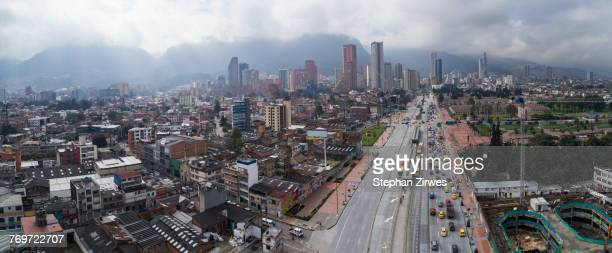 aerial view of cityscape against sky, bogota, columbia - bogota stock pictures, royalty-free photos & images
