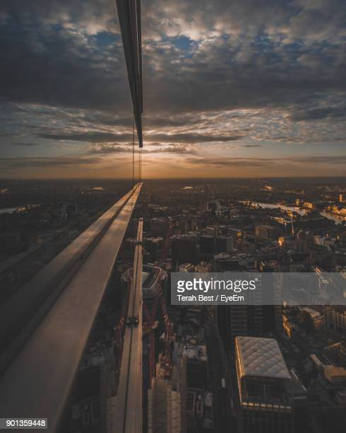 aerial view of cityscape against sky during sunset - basel switzerland stock pictures, royalty-free photos & images