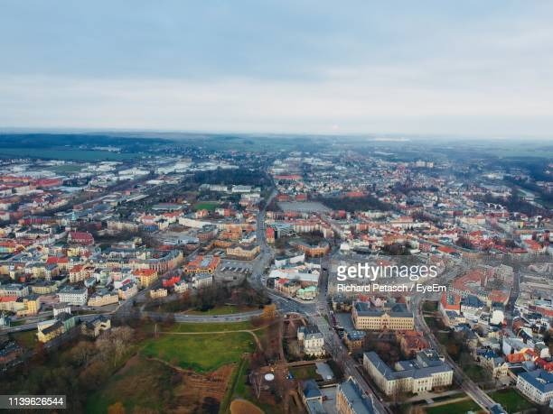 aerial view of cityscape against sky - zwickau stock pictures, royalty-free photos & images