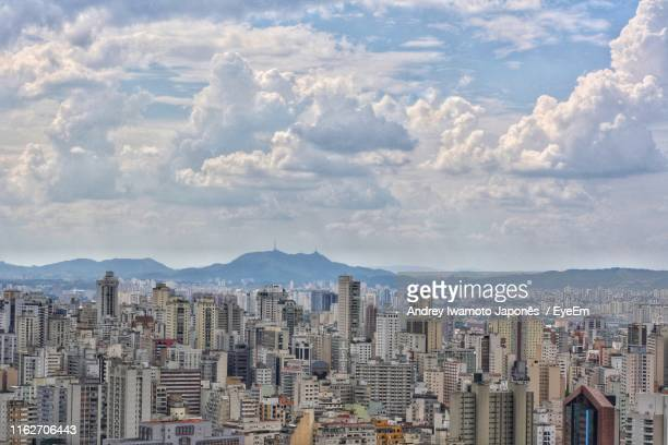 aerial view of cityscape against sky - japonês stock pictures, royalty-free photos & images
