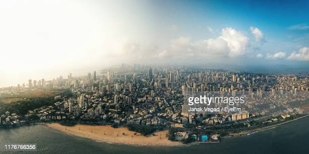 aerial view of cityscape against sky - mumbai stock pictures, royalty-free photos & images