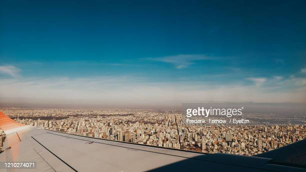 aerial view of cityscape against sky - buenos aires stock pictures, royalty-free photos & images