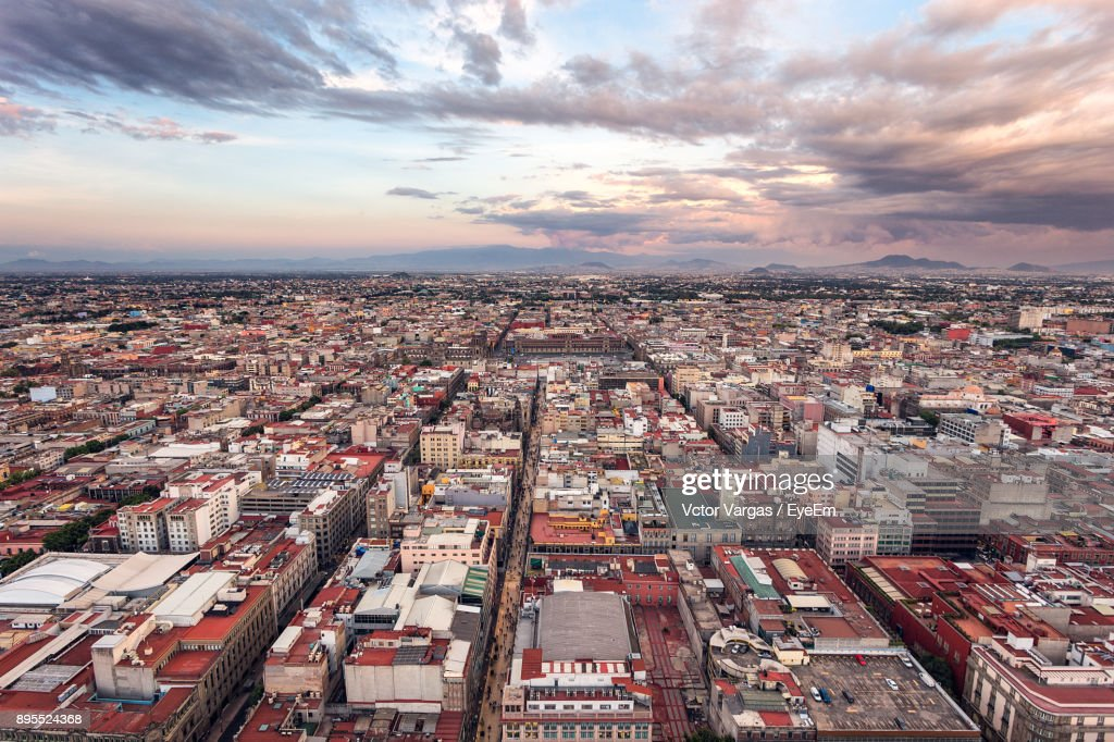 Aerial View Of Cityscape Against Sky : Stock Photo