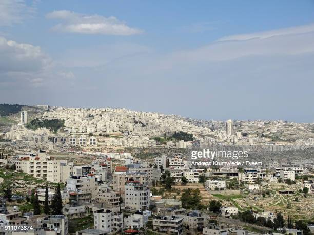aerial view of cityscape against sky - bethlehem stock pictures, royalty-free photos & images